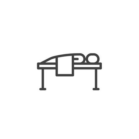 Massage spa therapy line icon. linear style sign for mobile concept and web design. Man lying on massage bed outline vector icon. Symbol, logo illustration. Vector graphics Иллюстрация