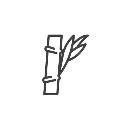 Bamboo stem with leaves line icon. linear style sign for mobile concept and web design. Spa salon bamboo outline vector icon. Symbol, logo illustration. Vector graphics Illustration