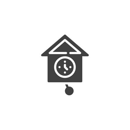 Cuckoo Clock vector icon. filled flat sign for mobile concept and web design. Wall clock cuckoo glyph icon. Symbol, logo illustration. Vector graphics