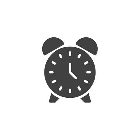 Alarm clock vector icon. filled flat sign for mobile concept and web design. Clock time glyph icon. Symbol, logo illustration. Vector graphics