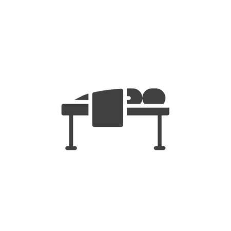 Massage spa therapy vector icon. filled flat sign for mobile concept and web design. Man lying on massage bed glyph icon. Symbol, illustration. Vector graphics