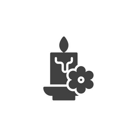 Aroma candle with flower vector icon. filled flat sign for mobile concept and web design. Aromatherapy spa glyph icon. Symbol, illustration. Vector graphics