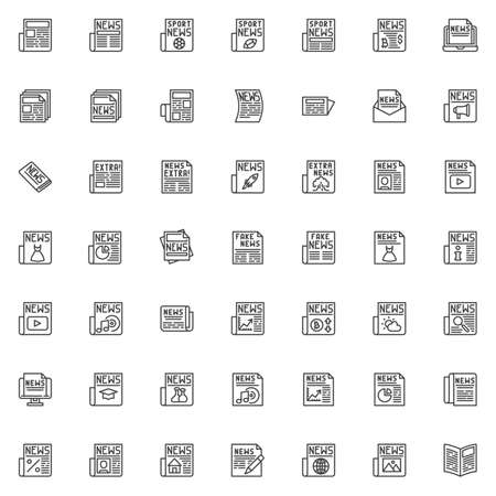 Newspaper news line icons set. linear style symbols collection, outline signs pack. vector graphics. Set includes icons as sport and extra news article headline, financial press, fashion publication
