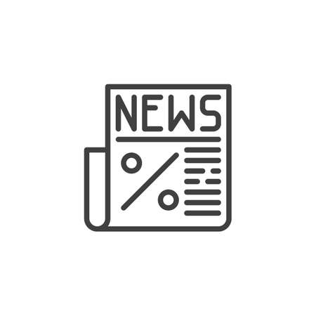 Economy news line icon. linear style sign for mobile concept and web design. Newspaper with percentage sign outline vector icon. Symbol, illustration. Vector graphics  イラスト・ベクター素材
