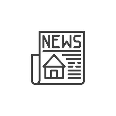 Property news headline line icon. linear style sign for mobile concept and web design. Newspaper with house publication outline vector icon. Symbol, illustration. Vector graphics