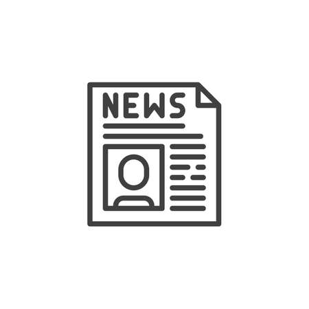 Political news headline line icon. linear style sign for mobile concept and web design. Newspaper publication outline vector icon. Symbol, illustration. Vector graphics  イラスト・ベクター素材