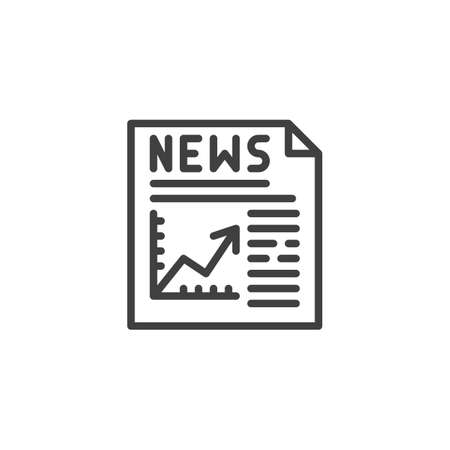 Financial news publication line icon. linear style sign for mobile concept and web design. News headline with business graph outline vector icon. Symbol, illustration. Vector graphics  イラスト・ベクター素材