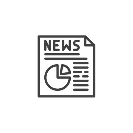 Economic News publication line icon. linear style sign for mobile concept and web design. News headline with diagram outline vector icon. Symbol, illustration. Vector graphics