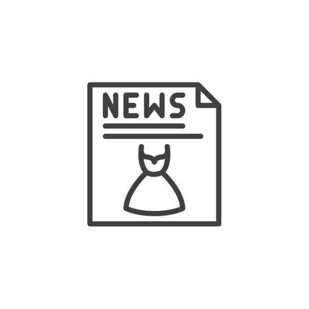 Fashion News publication line icon. linear style sign for mobile concept and web design. News headline with dress clothing outline vector icon. Symbol, illustration. Vector graphics