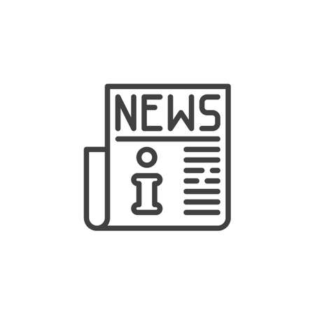 Info news publication line icon. linear style sign for mobile concept and web design. Information newspaper article outline vector icon. Symbol, illustration. Vector graphics  イラスト・ベクター素材
