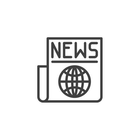 World news headline line icon. linear style sign for mobile concept and web design. Newspaper with globe outline vector icon. Symbol, illustration. Vector graphics