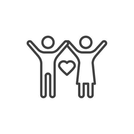 Couple with heart line icon. Friends with raised hands linear style sign for mobile concept and web design. Love and friendship outline vector icon. Symbol,  illustration. Vector graphics Çizim