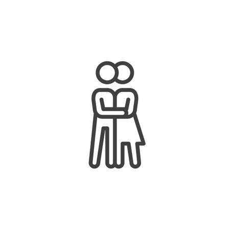 Couple kissing line icon. Relationship linear style sign for mobile concept and web design. Man and woman in love outline vector icon. Symbol,  illustration. Vector graphics Vectores