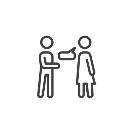 Couple conversation line icon. linear style sign for mobile concept and web design. Man and woman talk outline vector icon. Symbol,  illustration. Vector graphics