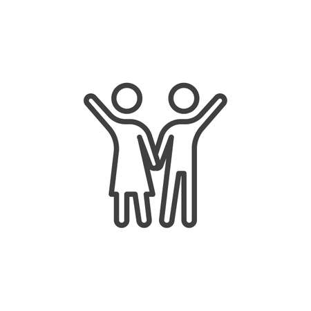 Couple with raised hands line icon. linear style sign for mobile concept and web design. People relationship outline vector icon. Symbol,  illustration. Vector graphics Çizim