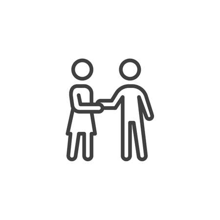 Couple handshake line icon. Man and woman greeting linear style sign for mobile concept and web design. People relationship outline vector icon. Symbol,  illustration. Vector graphics