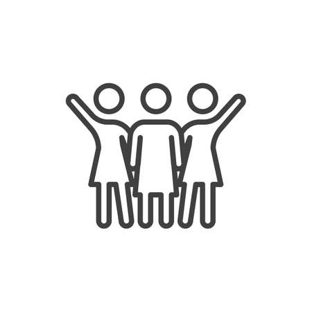 Three girlfriends with raised hands line icon. linear style sign for mobile concept and web design. Girlfriends Friendship outline vector icon. Symbol,  illustration. Vector graphics