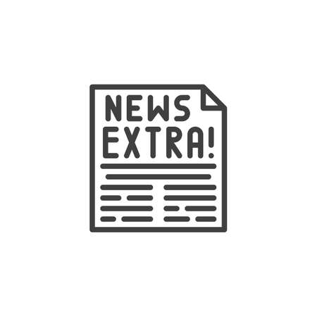 Extra news page line icon. linear style sign for mobile concept and web design. Newspaper article outline vector icon. Symbol,  illustration. Vector graphics