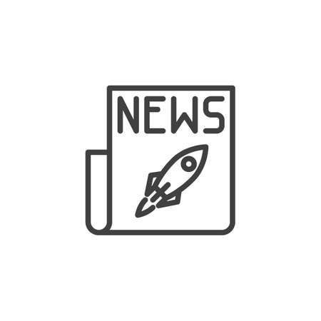Spaceship rocket news line icon. linear style sign for mobile concept and web design. Newspaper with rocket outline vector icon. Symbol,  illustration. Vector graphics