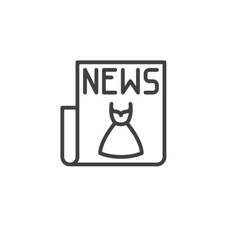 Fashion news article line icon. linear style sign for mobile concept and web design. Newspaper with a fashionable dress outline vector icon. Symbol,  illustration. Vector graphics  イラスト・ベクター素材