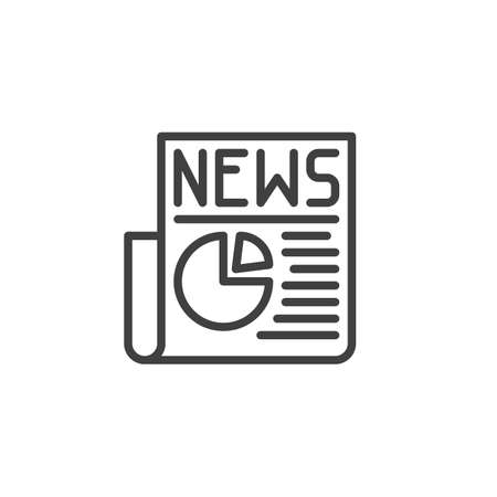 Financial news article line icon. Business press linear style sign for mobile concept and web design. Newspaper with pie chat diagram outline vector icon. Symbol,  illustration. Vector graphics  イラスト・ベクター素材
