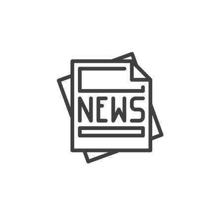 News headline publication line icon. linear style sign for mobile concept and web design. Newsletter article page outline vector icon. Symbol,  illustration. Vector graphics  イラスト・ベクター素材