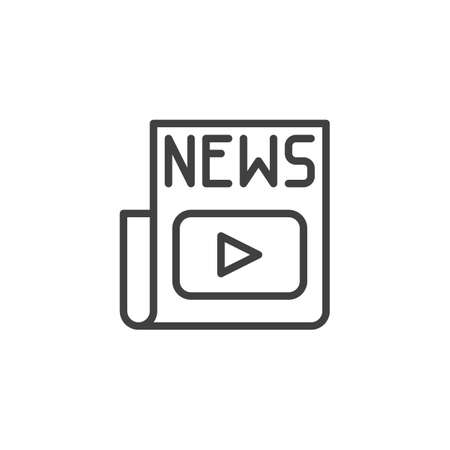 Media news headline line icon. linear style sign for mobile concept and web design. Entertainment newspaper outline vector icon. Symbol,  illustration. Vector graphics