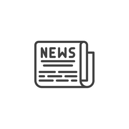 News headline line icon. linear style sign for mobile concept and web design. Folded newspaper outline vector icon. Symbol,  illustration. Vector graphics