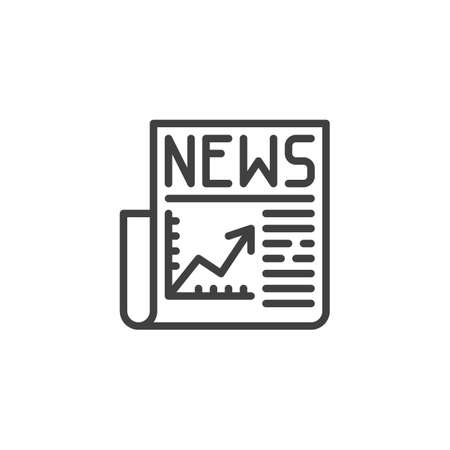Financial news headline line icon. linear style sign for mobile concept and web design. Business newspaper outline vector icon. Symbol,  illustration. Vector graphics  イラスト・ベクター素材