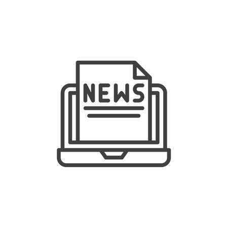 Online news line icon. Computer newsletter linear style sign for mobile concept and web design. Laptop with news document outline vector icon. Symbol,  illustration. Vector graphics  イラスト・ベクター素材