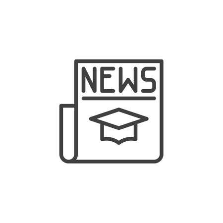 Education news headline line icon. linear style sign for mobile concept and web design. Science newspaper outline vector icon. Symbol,  illustration. Vector graphics