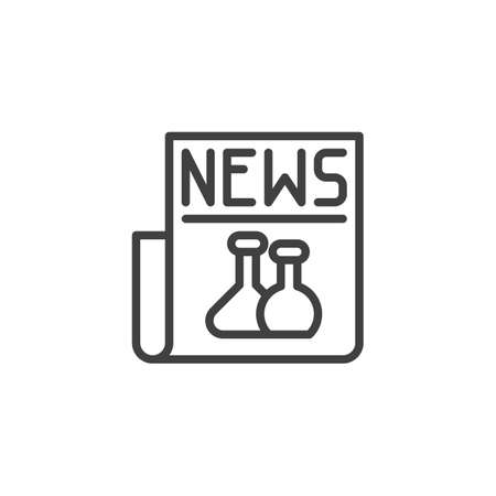 Science newspaper line icon. linear style sign for mobile concept and web design. Biochemistry news outline vector icon. Symbol,  illustration. Vector graphics  イラスト・ベクター素材