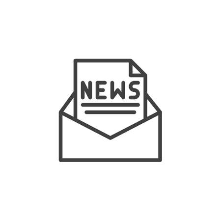 Newsletter mail line icon. linear style sign for mobile concept and web design. Envelope with new document file outline vector icon. Symbol,  illustration. Vector graphics