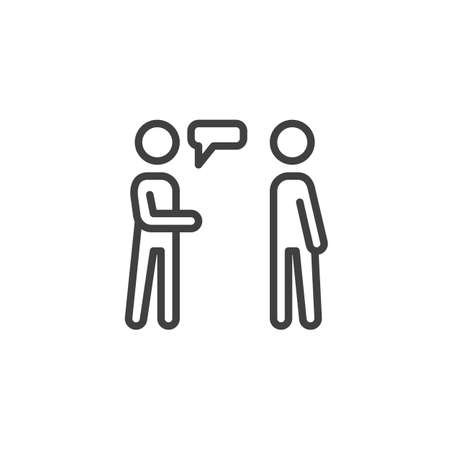 People conversation line icon. Two man talking linear style sign for mobile concept and web design. People relations outline vector icon. Symbol,  illustration. Vector graphics