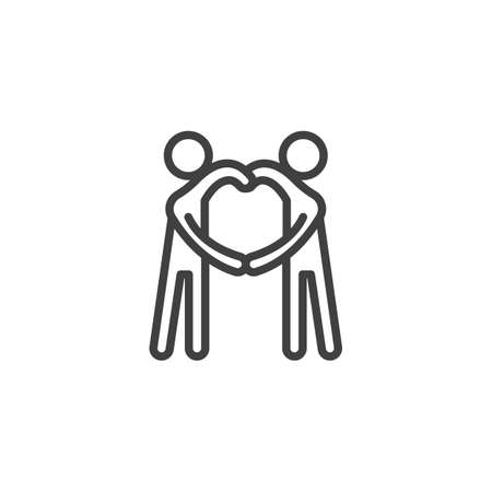 Couple making heart with hands line icon. linear style sign for mobile concept and web design. Relationship and friendship outline vector icon. Symbol, illustration. Vector graphics Vetores