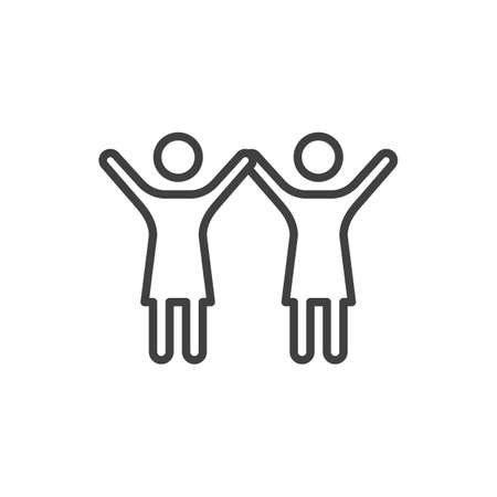 Two girl friends with raised hands line icon. linear style sign for mobile concept and web design.  women friends outline vector icon. Symbol,  illustration. Vector graphics