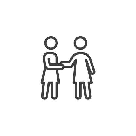 Icône de ligne de poignée de main deux amies. signe de style linéaire pour le concept mobile et la conception Web. Icône de vecteur de contour d'amitié et de relation de personnes. Symbole, illustration. Graphiques vectoriels