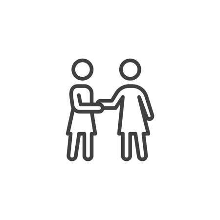 Two girl friends handshake line icon. linear style sign for mobile concept and web design. People friendship and relationship outline vector icon. Symbol, illustration. Vector graphics