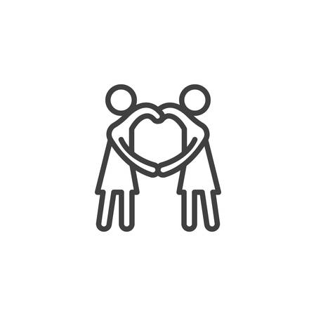 girlfriends making heart with hands line icon. linear style sign for mobile concept and web design. Relationship outline vector icon. Symbol, illustration. Vector graphics Vetores