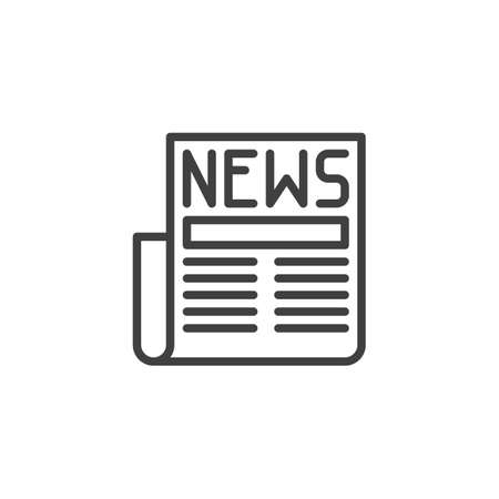 Newspaper with news article line icon. linear style sign for mobile concept and web design. News headline outline vector icon. Symbol,  illustration. Vector graphics