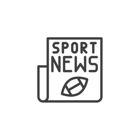 Rugby sport newspaper line icon. linear style sign for mobile concept and web design. American football news publication outline vector icon. Symbol,  illustration. Vector graphics  イラスト・ベクター素材