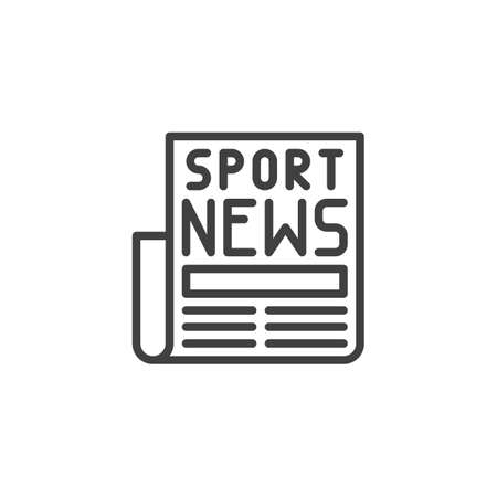 Sport news headline line icon. linear style sign for mobile concept and web design. Newspaper article outline vector icon. Symbol,  illustration. Vector graphics