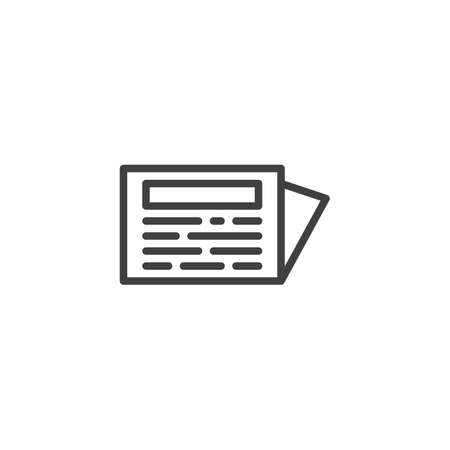 Folded newspaper line icon. linear style sign for mobile concept and web design. Newspaper page outline vector icon. Symbol, illustration. Vector graphics  イラスト・ベクター素材