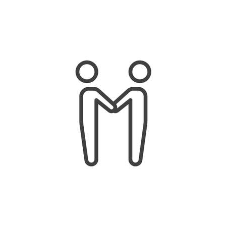 Couple holding hands each other line icon. linear style sign for mobile concept and web design. People relationship outline vector icon. Symbol, illustration. Vector graphics Ilustração Vetorial