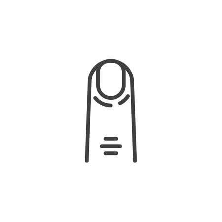 Human finger line icon. linear style sign for mobile concept and web design. Forefinger outline vector icon. Symbol, illustration. Vector graphics  イラスト・ベクター素材