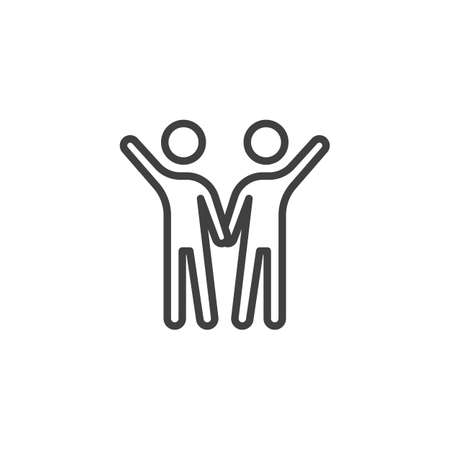 People friendship line icon. linear style sign for mobile concept and web design. Two friends with raised hands outline vector icon. Symbol, illustration. Vector graphics Stok Fotoğraf - 131772119