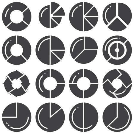 Pie chart vector icons set, modern solid symbol collection, filled style pictogram pack. Signs,  illustration. Set includes icons as business graph progress, diagram statistic, infographic report Banque d'images - 131773741
