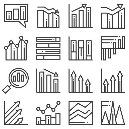 Chart graph line icons set. linear style symbols collection, outline signs pack. vector graphics. Set includes icons as business graph progress, bar chart statistic, increase infographic analysis Banque d'images - 131773740