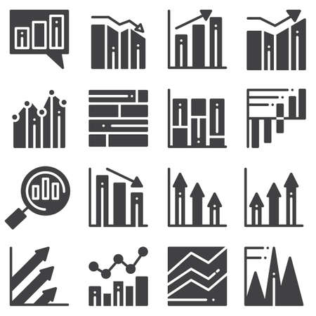 Chart graph vector icons set, modern solid symbol collection, filled style pictogram pack. Signs  illustration. Set includes icons as business graph progress, chart statistic, infographic analysis Banque d'images - 131773743