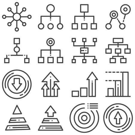 Flowchart management line icons set. linear style symbols collection, outline signs pack. vector graphics. Set includes icons as hierarchy structure, flow chart scheme, pyramid diagram, pie chart Banque d'images - 131773745